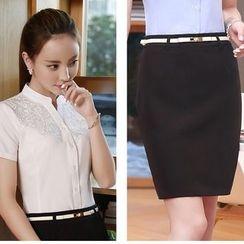 Princess Min - 套装:短袖立领衬衫 + 裙