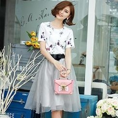 Romantica - Set: Short-Sleeve Floral T-Shirt + A-Line Skirt