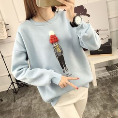 Ukiyo - Beanie Applique Cartoon Print Sweatshirt