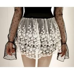 Marlangrouge - Inset Shorts Lace Mini Skirt