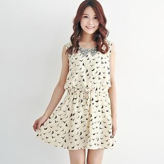 BAIMOMO - Sleeveless Drawstring-Waist Printed Dress