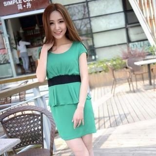 9mg - Lace-Waist Peplum Dress