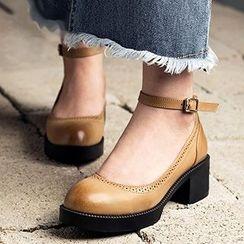 MIAOLV - 踝扣帶粗跟高跟鞋