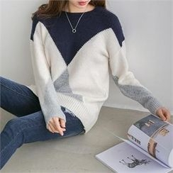 PIPPIN - Crew-Neck Color-Block Knit Top