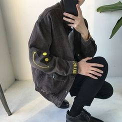 JUN.LEE - Embroidered Snap Button Corduroy Jacket