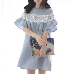 Jolly Club - Lace-Panel Shift Dress
