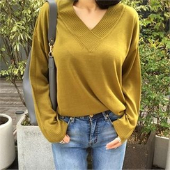 LIPHOP - V-Neck Drop-Shoulder Knit Top