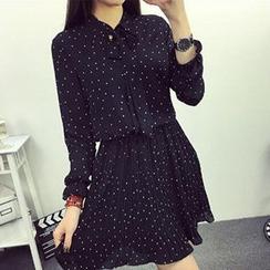 Ashlee - 圓點長袖打褶雪紡連衣裙