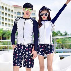 Sunset Hours - Couple Matching Rashguard / Printed Beach Shorts