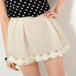 59 Seconds - Rosette Trim Mini Skirt