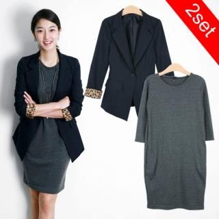 MOUL STYLE Set: Blazer and 3/4-Sleeve Dress $108 from Yesstyle! featured on Shopalicious.com