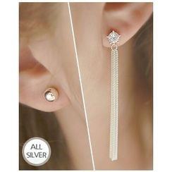 Miss21 Korea - Rhinestone Silver Asymmetric Earrings