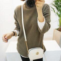 STYLEBYYAM - Mock-Neck Drop-Shoulder Knit Top