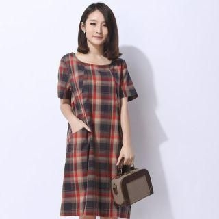 Mooiee - Short-Sleeve Plaid Dress