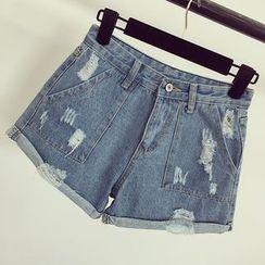Honeydew - Distressed Denim Shorts