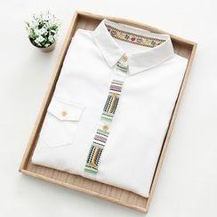 Fashion Street - Panel Long-Sleeve Blouse