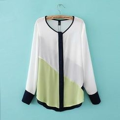 JVL - Color-Block Chiffon Blouse