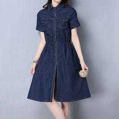 Fashion Street - Short-Sleeve Denim Dress