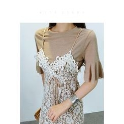 ATTYSTORY - Set: Tie-Front Lace Dress + Layered Top