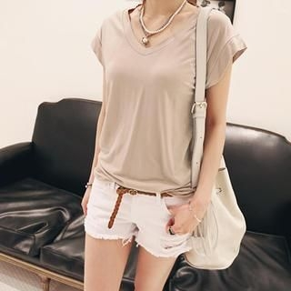 NANING9 - V-Neck Cap-Sleeve T-Shirt