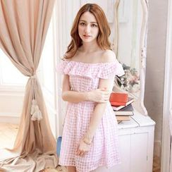 Tokyo Fashion - Off-Shoulder Ruffle A-Line Gingham Dress