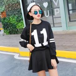SUYISODA - Set: '11' Print Pullover + A-Line Skirt