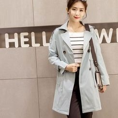 Happy Girl - Drawstring Double-Breasted Trench Coat