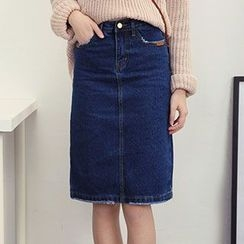 Honey House - Denim Midi A-Line Skirt