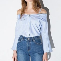Richcoco - Cutout Shoulder Bell-Sleeve Blouse