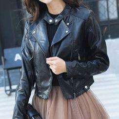 Fashion Street - Faux Leather Biker Jacket