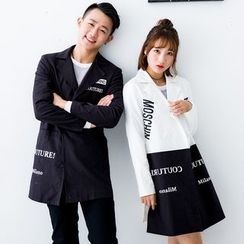 Igsoo - Couple Matching Letter Lapel Coat
