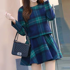 Hazie - 套装: 长袖格纹上衣 + 格纹A字裙