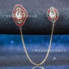 Trend Cool - Floral Rhinestone Chain Brooch