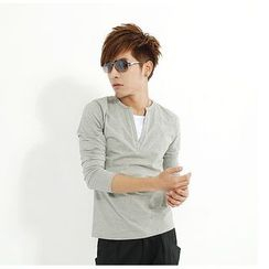 uninukoo - Mock Two Piece Long Sleeve T-Shirt