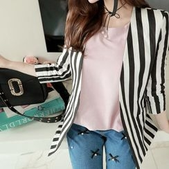 Marlangrouge - Collarless Stripe Linen Jacket