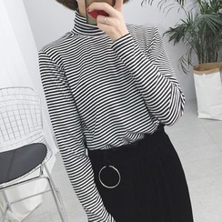 Moon City - Striped Turtleneck Long Sleeve T-Shirt