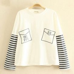 Angel Love - Striped Panel Long Sleeve T-Shirt