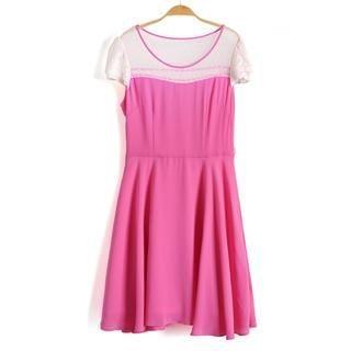 9mg - Lace-Sleeve Dotted Mesh-Yoke Dress