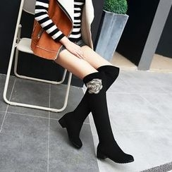 Pangmama - Paneled Over-the-Knee Boots