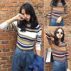 Clair Fashion - 韩版复古撞色修身针织衫