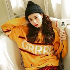 Morever - Lettering Contrast-Stripe Sweater