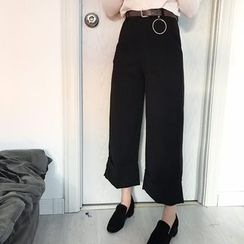 Bloombloom - Plain Capri Wide Leg Pants