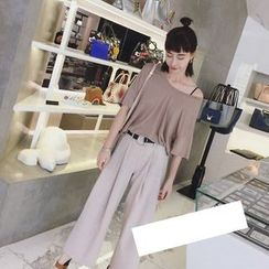 AIGIL - Cropped Wide Leg Pants