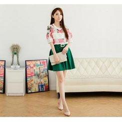 Hanako Shiratori - Set: Sequined Floral T-Shirt + A-Line Skirt + Belt