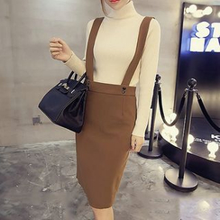 Fashion Street - Plain Midi Suspender Skirt