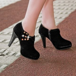 Carnival Beast - Faux-Suede Bow-Accent Shoe Boots