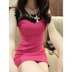 Cotton Candy - Sleeveless Lace Trim Sheath Dress