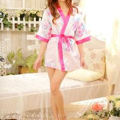 Eros - Set: Floral Lingerie Kimono + Panties