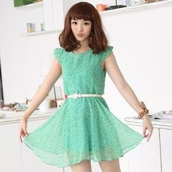 59 Seconds - Cap-Sleeve Dotted Dress (Belt not Included)