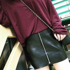 Fancy Room - Faux-Leather Miniskirt
